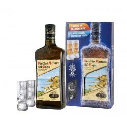 Caffo Vecchio Amaro del Capo Kräuterlikör 35% Vol. 0,7 Liter in Geschenkkarton mit 2 Gläsern